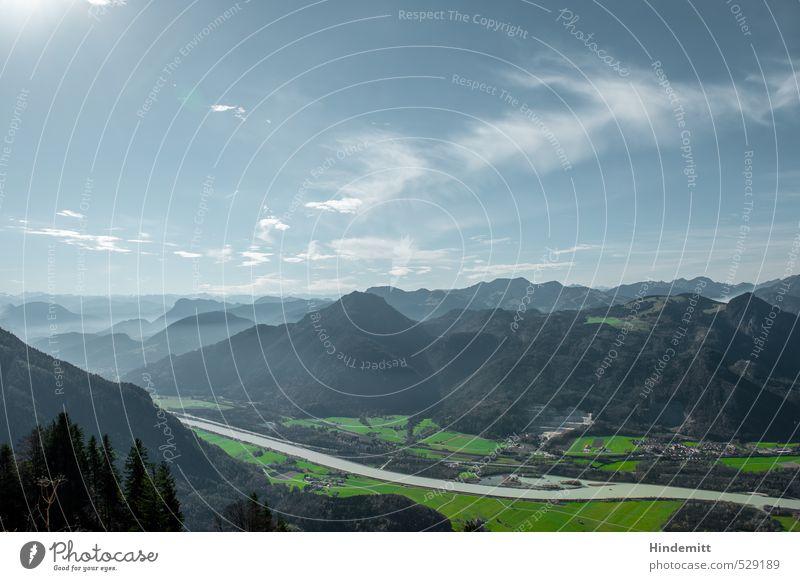 Zwei-Gipfel-Tour   Trübe Wasser Ferien & Urlaub & Reisen Tourismus Ausflug Berge u. Gebirge Himmel Wolken Sonne Herbst Schönes Wetter Wiese Wald Alpen Fluss Inn