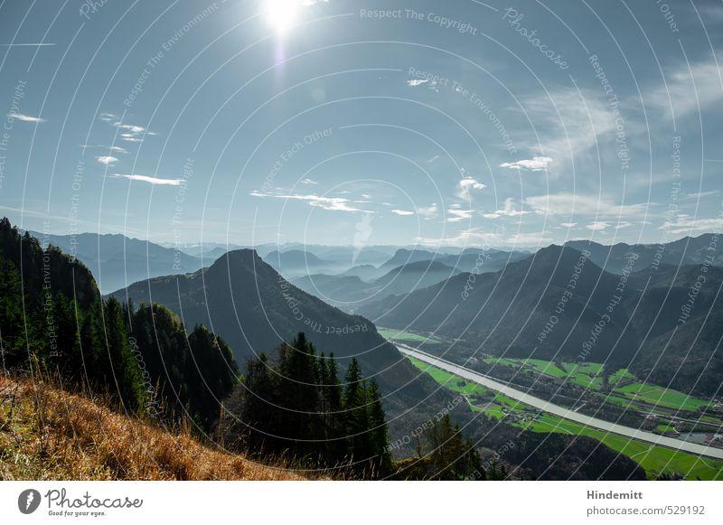 Zwei-Gipfel-Tour | Ins Inntal Himmel blau grün weiß Freude Wolken Ferne Wald Berge u. Gebirge Wiese Herbst braun Nebel Zufriedenheit leuchten Erfolg