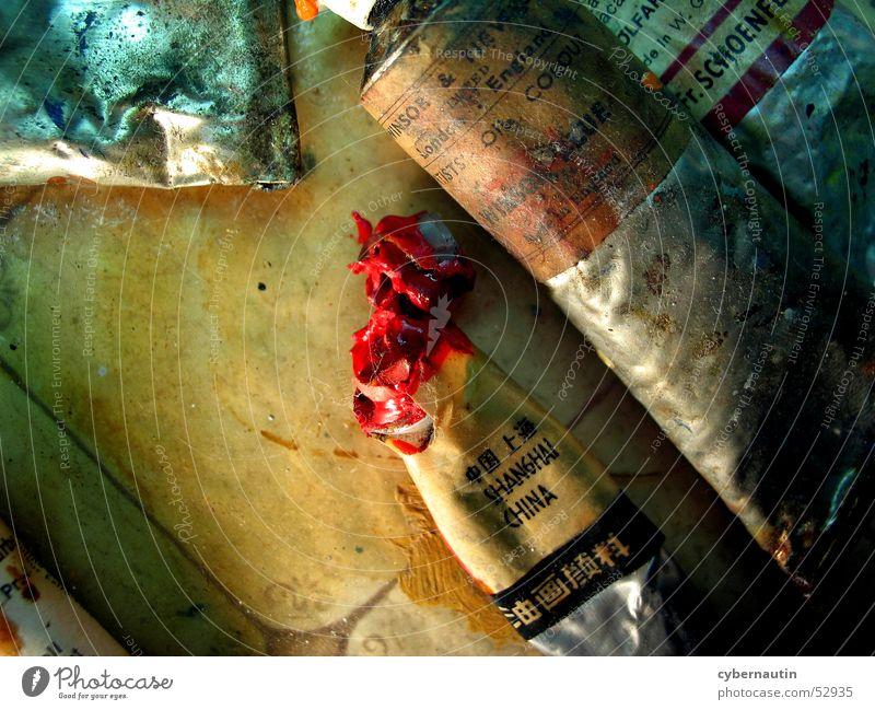 Ölfarben rot Farbe Metall Kunst streichen Tube Atelier