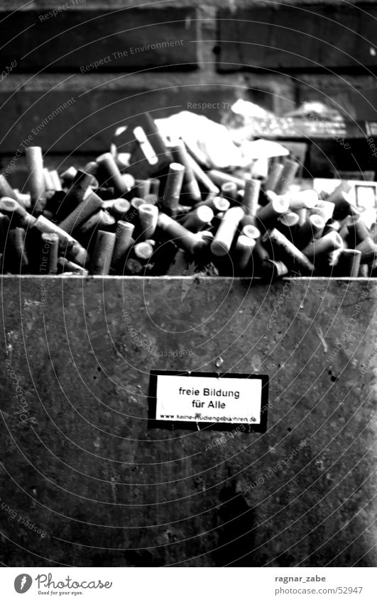 education up in smoke Mauer Studium lernen Bildung Zigarette Alkoholisiert Etikett Aschenbecher Zigarettenstummel
