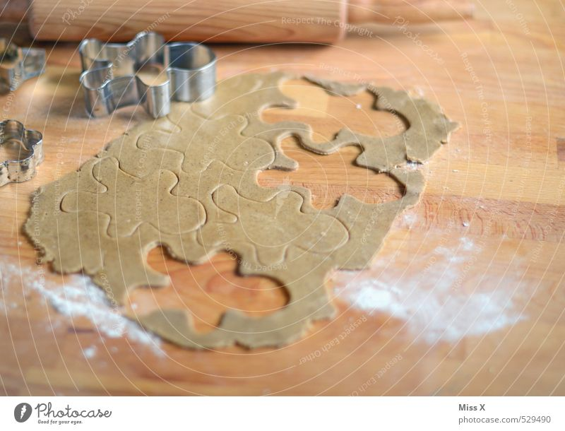 Lebkuchenteig Lebensmittel braun Ernährung Kochen & Garen & Backen süß lecker Süßwaren Backwaren Holztisch Teigwaren roh Plätzchen Mehl Weihnachtsgebäck