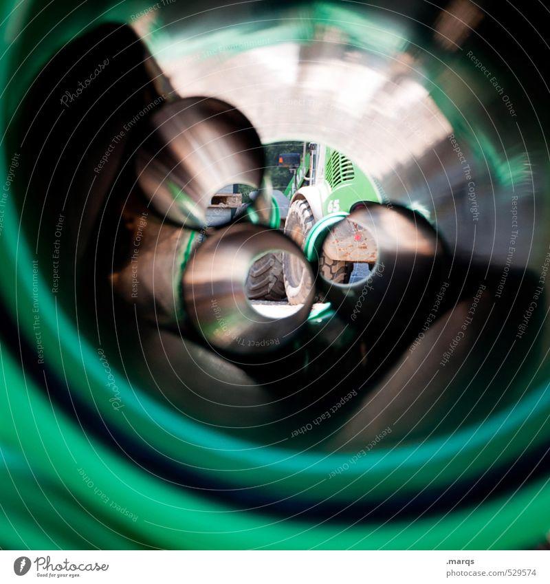 Bau grün außergewöhnlich Perspektive Wandel & Veränderung rund Baustelle Industrie Röhren Bagger