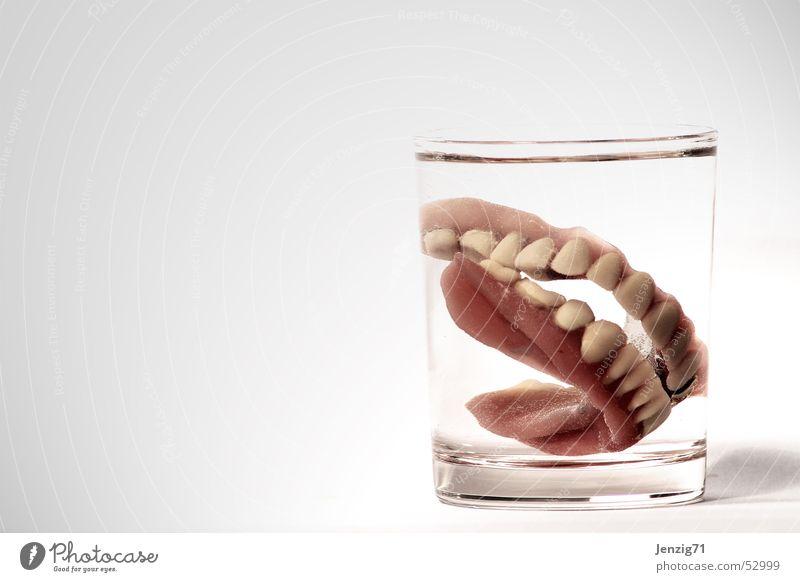 Oma schläft schon. Ernährung Glas Zähne Zahnarzt beißen Zahnmedizin Wasserglas dritte Prothese Zahnersatz Zahntechnik Zahntechniker