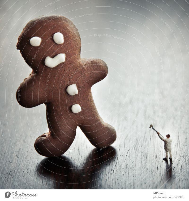 david vs. goliat maskulin Körper 1 Mensch füttern Jagd kämpfen streichen dick lecker lustig braun weiß Lebkuchen Bäcker Weihnachten & Advent fangen klein groß
