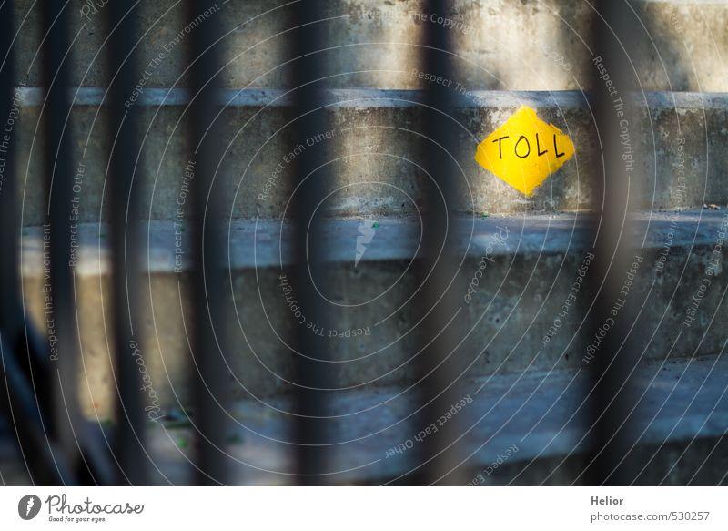 Toll hinter Gittern Stadt Stadtzentrum Treppe Fußgänger Wege & Pfade Beton Metall Stahl Schilder & Markierungen gelb grau Treppengeländer Prima aufsteigen