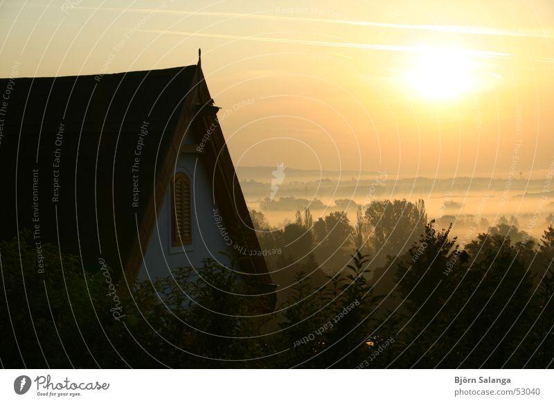 Morgennebel in Ungarn (Alsópáhok) Nebel Niedrigenergiehaus