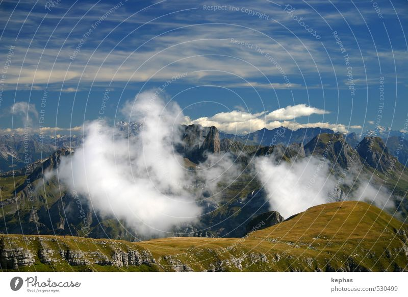 Hinter den Wolken Himmel Natur blau grün Landschaft Berge u. Gebirge grau Felsen Gipfel Alpen Schweiz gigantisch