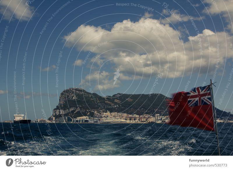 Gibraltaaaaar! Ferien & Urlaub & Reisen Sommer Meer Ferne Freiheit gehen Wasserfahrzeug Wellen Tourismus Insel Ausflug Abenteuer Spanien Fahne Afrika