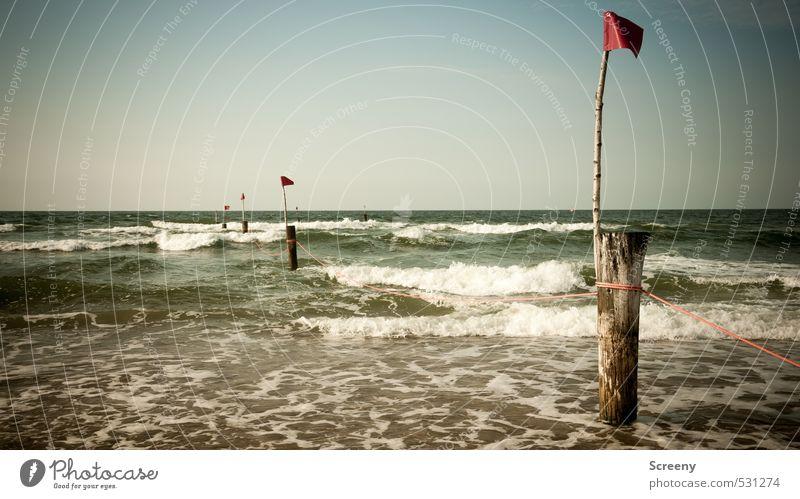 Geteilte Brandung Himmel Natur Ferien & Urlaub & Reisen Wasser Sommer Pflanze Meer rot Erholung Einsamkeit ruhig Strand Küste Freiheit Schwimmen & Baden Wellen
