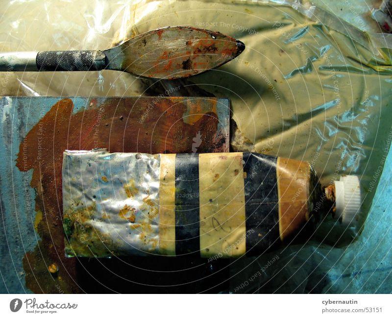 Spachtel Farbe Farbstoff braun Kunst streichen London Underground Atelier Ölfarbe Erdton