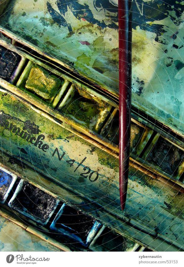 Aquarellkasten 2 alt Farbe Kunst streichen Pinsel Wasserfarbe
