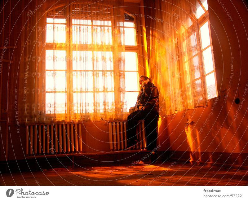 Telefonkontakt Fenster Gardine Straßenbeleuchtung Verfall verfallen Physik Licht staubig orange Heizkörper window alt decay abandoned Wärme Zufriedenheit
