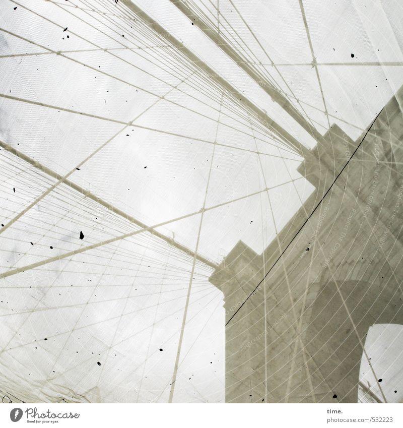 Brooklyn Bridge Ferien & Urlaub & Reisen alt Stadt Wand Mauer Architektur Linie dreckig elegant hoch bedrohlich Vergänglichkeit Brücke Streifen Kreativität