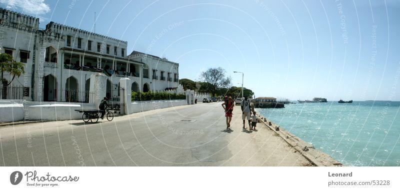 Zanzibar Insel Mensch Mann Baum Meer Straße Gebäude Wasserfahrzeug Afrika Tourist Palast
