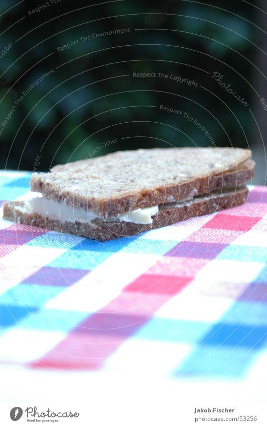 Brot Ernährung Tisch kariert Belegtes Brot