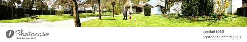 Panorama Park Himmel grün Baum Wolken Freude Wiese Wege & Pfade Gras Spielen groß Panorama (Bildformat) Ball treten Linde mehrfarbig