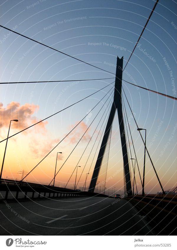 Köhlbrandbrücke Straße kalt Hamburg Brücke Stahlträger Stahlbrücke