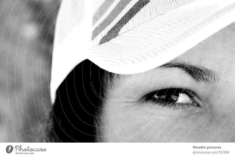 Auge Frau weiß schwarz Gesicht Haare & Frisuren Denken Nase Hiphop Pupille Baseballmütze