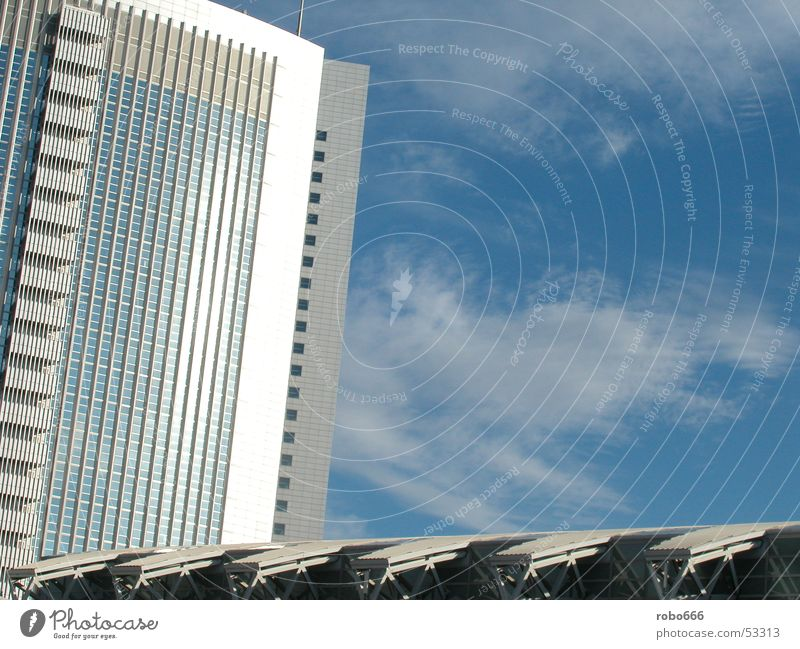 Schönes Wetter Hochhaus glänzend wolkenkeratzer Sonne Glas