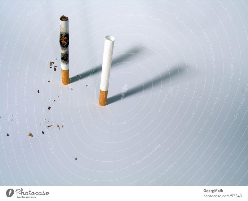 ablehnung braun 2 Armut leer Vergänglichkeit Zigarette brennen Vor hellem Hintergrund