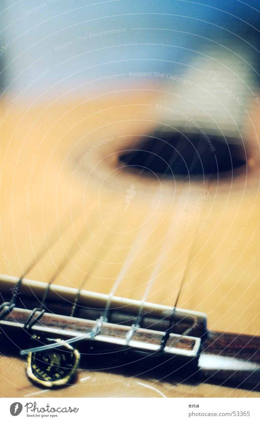 Lange Saiten Freude Spielen Holz Musik liegen Perspektive Elektrizität Ohr hören Konzert Gitarre 6 Ton Musiknoten Etikett Musikinstrument