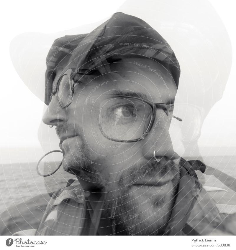 not alone Mensch maskulin Mann Erwachsene Kopf Gesicht Bart 1 2 30-45 Jahre Stimmung Zufriedenheit Begeisterung Einsamkeit einzigartig gleich Hoffnung Horizont