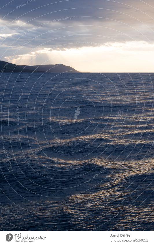 Krisselwellen 2 Ferien & Urlaub & Reisen Sommer Meer Wellen Natur Himmel Wolken Wetter Wind Küste Seeufer Bucht blau gelb Kroatien Farbfoto Gedeckte Farben