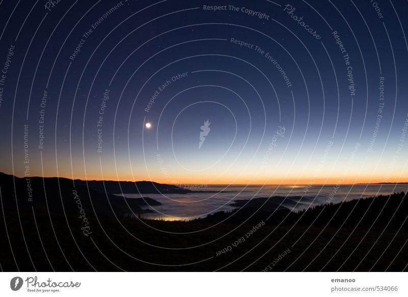 Schwarzlichtwald Ferien & Urlaub & Reisen Ausflug Natur Landschaft Himmel Nachthimmel Stern Horizont Sonnenaufgang Sonnenuntergang Mond Wetter Nebel Wald Hügel