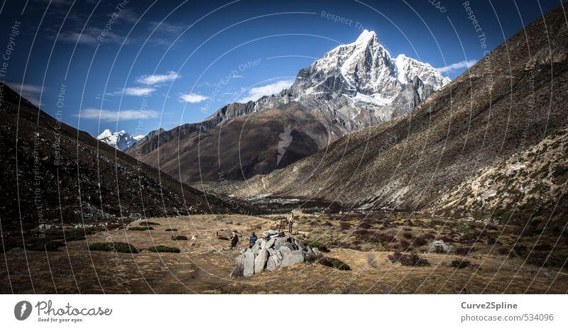 Gebirgspanorama Natur Landschaft Urelemente Sand Herbst Schönes Wetter Dürre Berge u. Gebirge Gipfel Schneebedeckte Gipfel Wüste Nepal authentisch Unendlichkeit