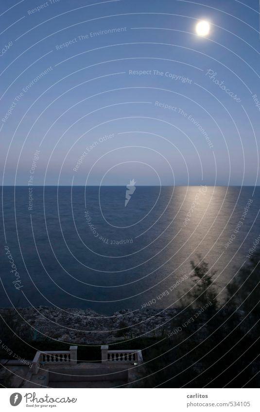 Dunkel war's, der Mond schien helle Urelemente Erde Luft Wasser Wolkenloser Himmel Nachthimmel Vollmond Schönes Wetter Küste Meer Terrasse ästhetisch blau
