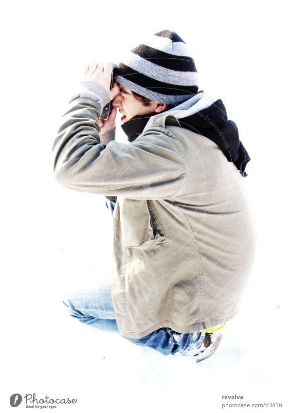 Dominikaner im Schnee Mensch Farbe Streifen Mütze Fotografieren Überstrahlung