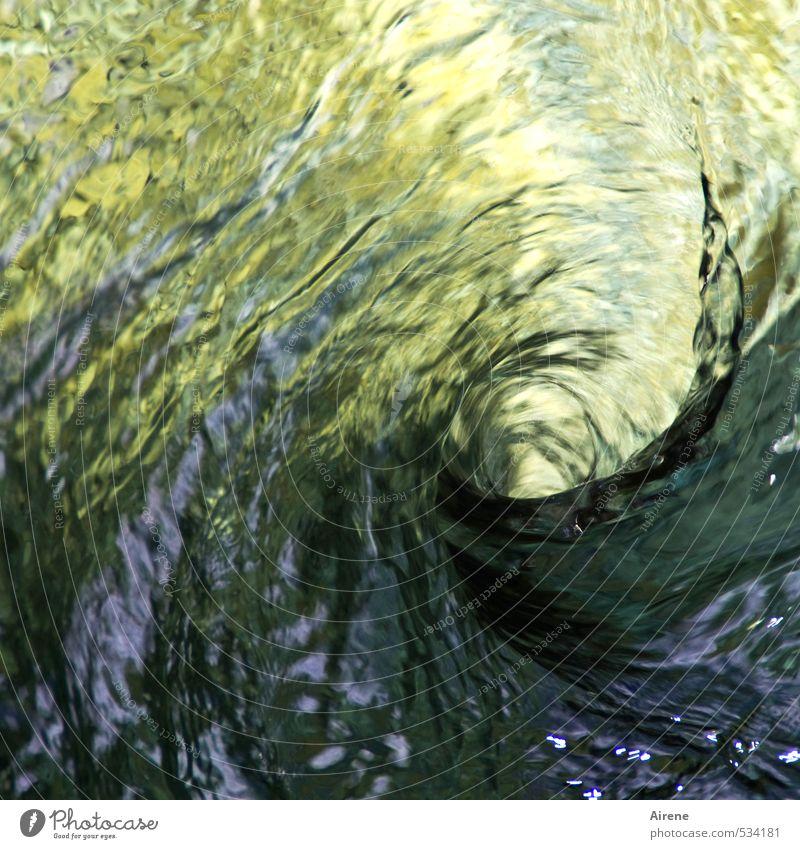 gerührt - nicht geschüttelt Urelemente Wasser Wellen See Bach Fluss Wasserwirbel Verwirbelung Spirale drehen bedrohlich Flüssigkeit natürlich wild gold grün