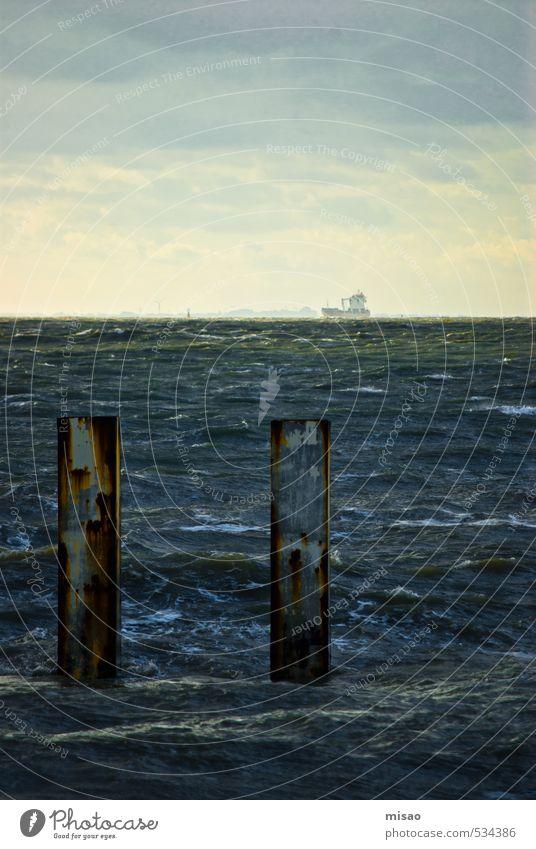 Hinterm niederländischen Hochizont gehts weiter .... Himmel blau Meer Erholung Wolken Ferne Küste Freiheit Schwimmen & Baden Gesundheit Metall Wellen Wind Tourismus nass Ausflug