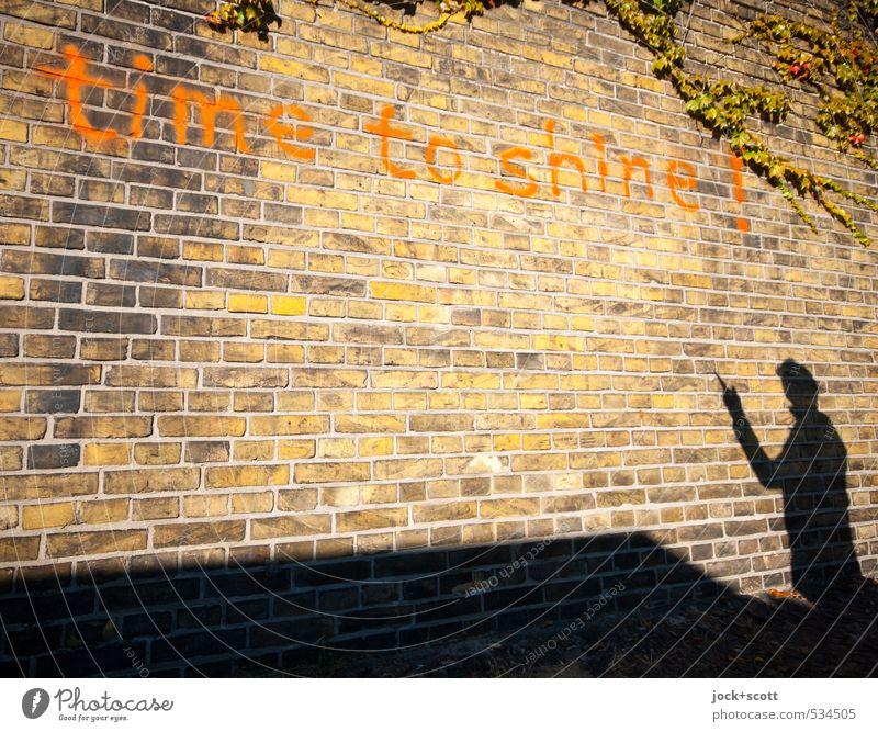 time to shine! Mensch Wärme Wand Graffiti Mauer Glück Zeit Linie oben träumen leuchten Fröhlichkeit Klima Lebensfreude Kreativität Warmherzigkeit