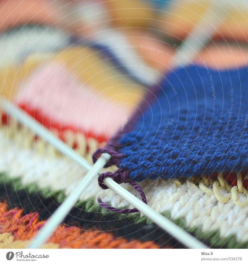 Strickmuster Stimmung Freizeit & Hobby Bekleidung Stoff Strümpfe Pullover gestreift Schal Ausdauer Wolle fleißig stricken Handarbeit Schlaufe Stricknadel
