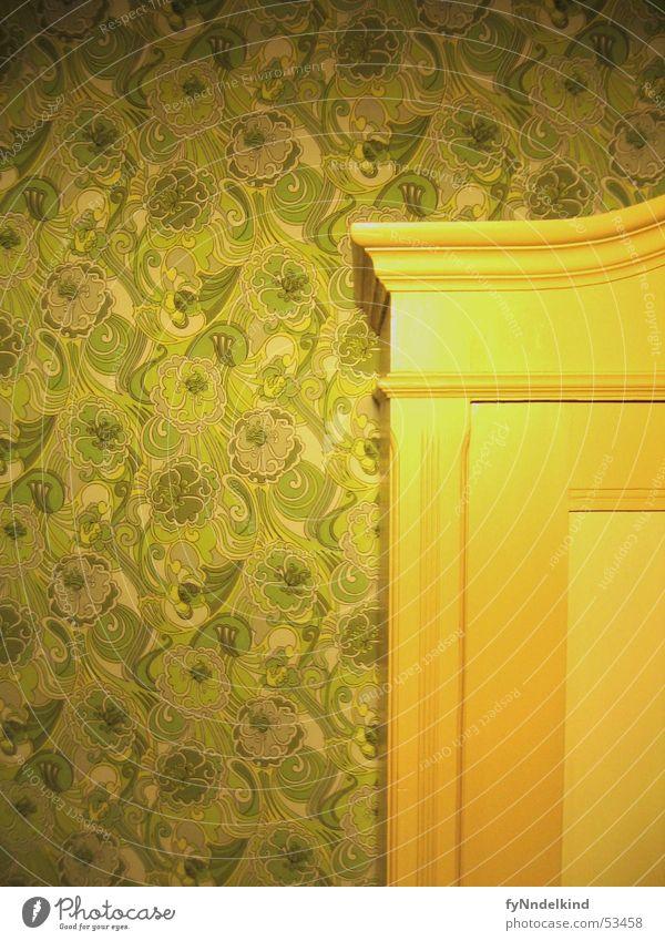 Schrank-Wand grün Tapete retro Sechziger Jahre Siebziger Jahre Achtziger Jahre Muster Blume Ornament old-school