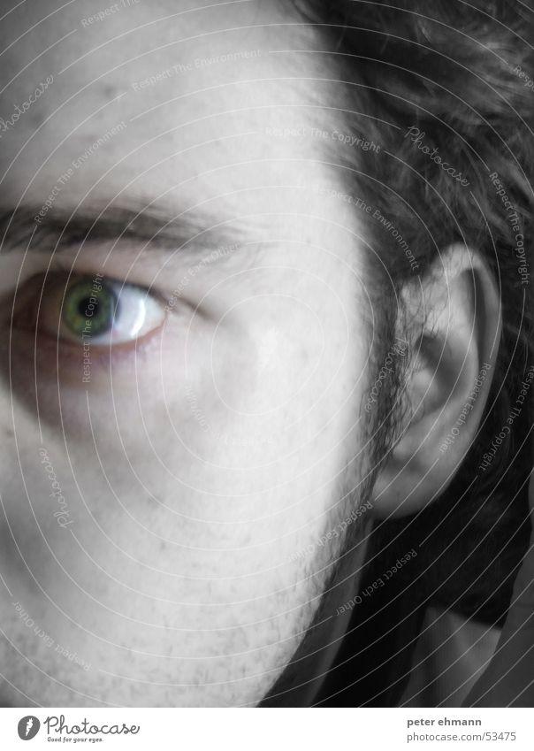 Psycho Entsetzen Pupille Augenbraue Stress Eile durcheinander ratlos grün Ärger verfolgen Wahnsinn Hälfte Angst fear eye Ohr Blick Stil sick Perspektive Gesicht