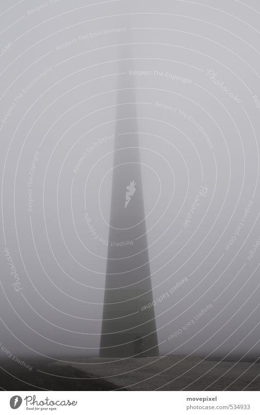 Windrad im Nebel Einsamkeit Energiewirtschaft Bauwerk Windkraftanlage schlechtes Wetter Erneuerbare Energie