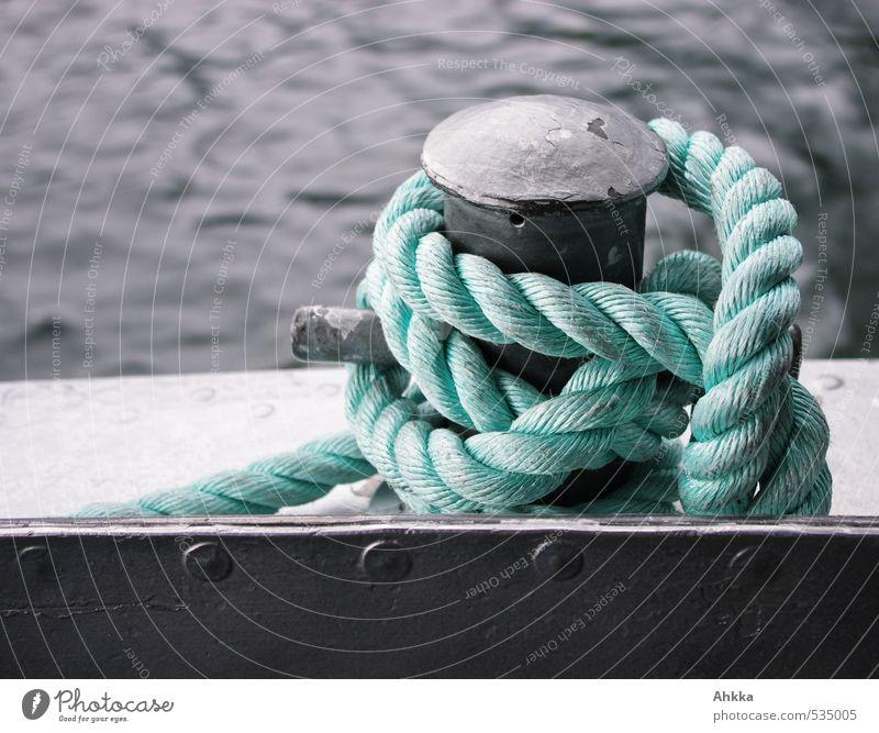 dresscode Kunstwerk Verkehr Schifffahrt Bootsfahrt Seil Knotenpunkt Metall Kunststoff Wasser Schleife Netzwerk festhalten Tauziehen Umarmen ästhetisch blau