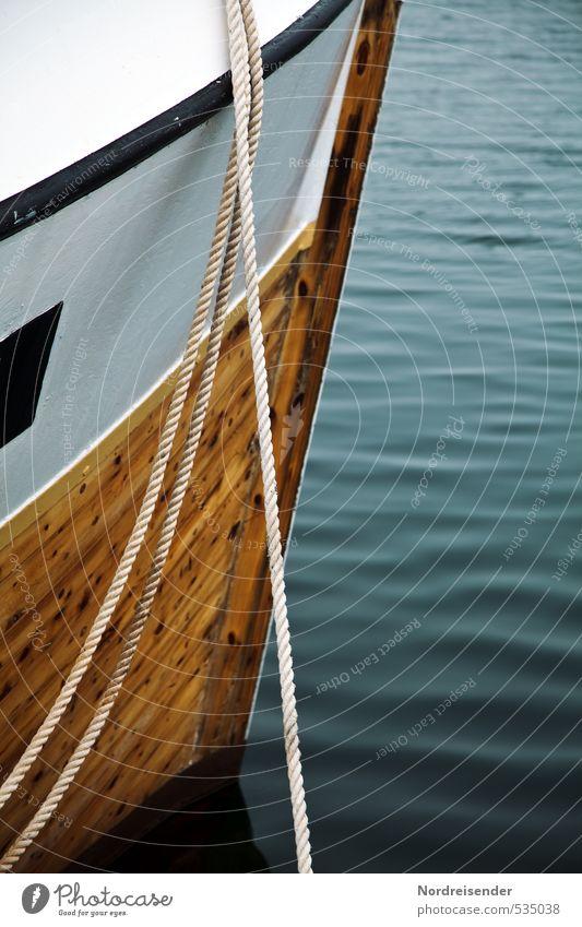 Ich will los.... Ferien & Urlaub & Reisen Wasser ruhig Freiheit Holz warten Beginn Seil Abenteuer Hafen Schifffahrt Anlegestelle Fernweh geduldig Fischerboot Schiffsbug