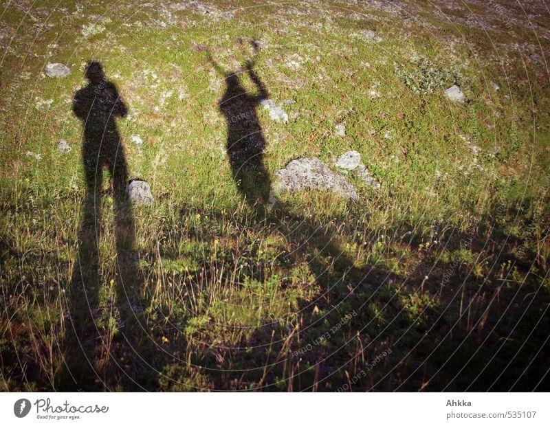 meeting Mensch Natur Ferien & Urlaub & Reisen Freude Ferne Berge u. Gebirge Leben Wiese Freiheit Stimmung Tierpaar wandern Ausflug ästhetisch Vergänglichkeit