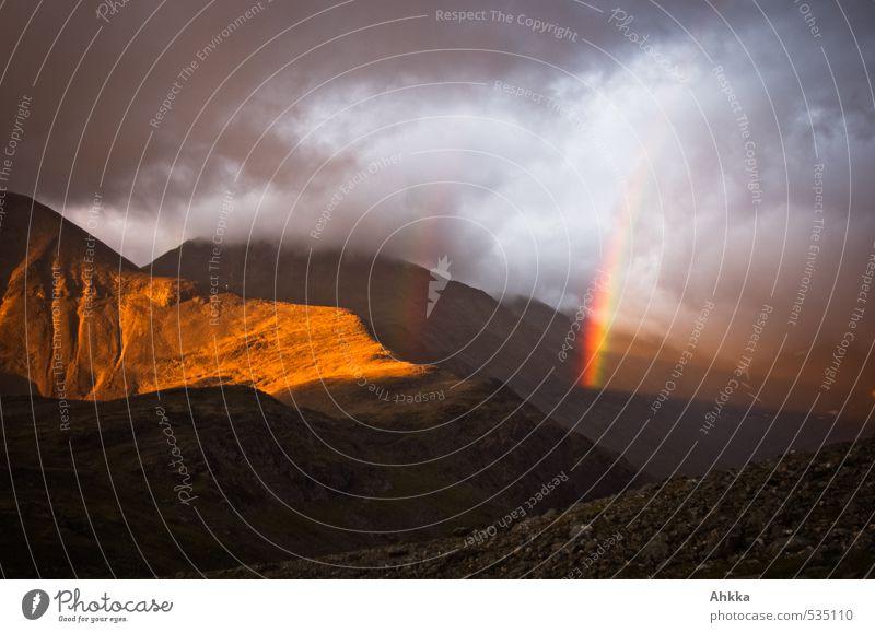 bright stripes Natur Landschaft Wolken Sonnenlicht Unwetter Berge u. Gebirge Gipfel leuchten gigantisch Stimmung Leben Hoffnung Glaube Traurigkeit Liebeskummer