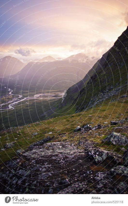 Abendstimmung Natur Ferien & Urlaub & Reisen Erholung Landschaft ruhig Ferne Berge u. Gebirge Leben Gefühle Freiheit Stimmung rosa Zufriedenheit wandern Ausflug