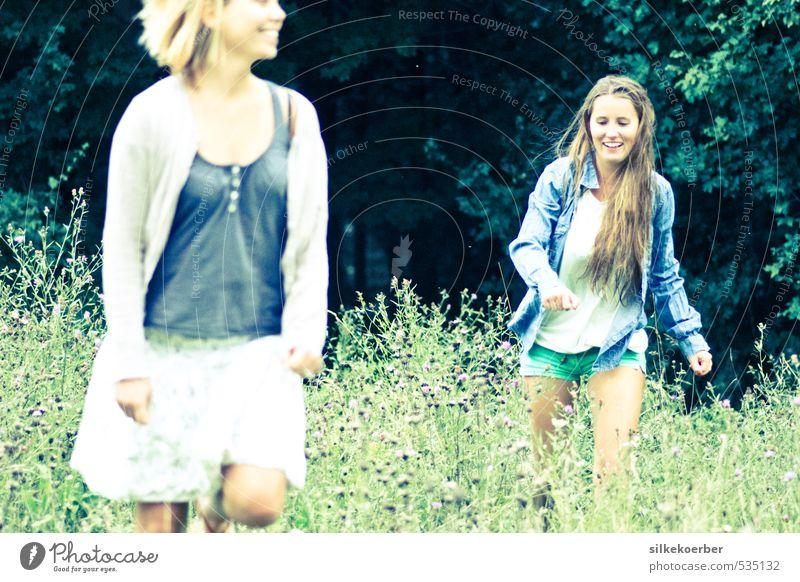 kein Zurück in die Vernunft ll Sommer feminin Junge Frau Jugendliche Freundschaft 2 Mensch 18-30 Jahre Erwachsene Wiese Wald Lächeln lachen laufen rennen