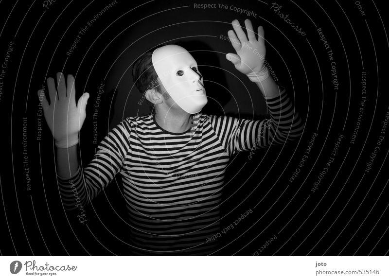 pantomime I Spielen Entertainment Mann Erwachsene Maske Handschuhe dunkel gruselig lustig Neugier Überraschung Angst Freizeit & Hobby Freude stagnierend