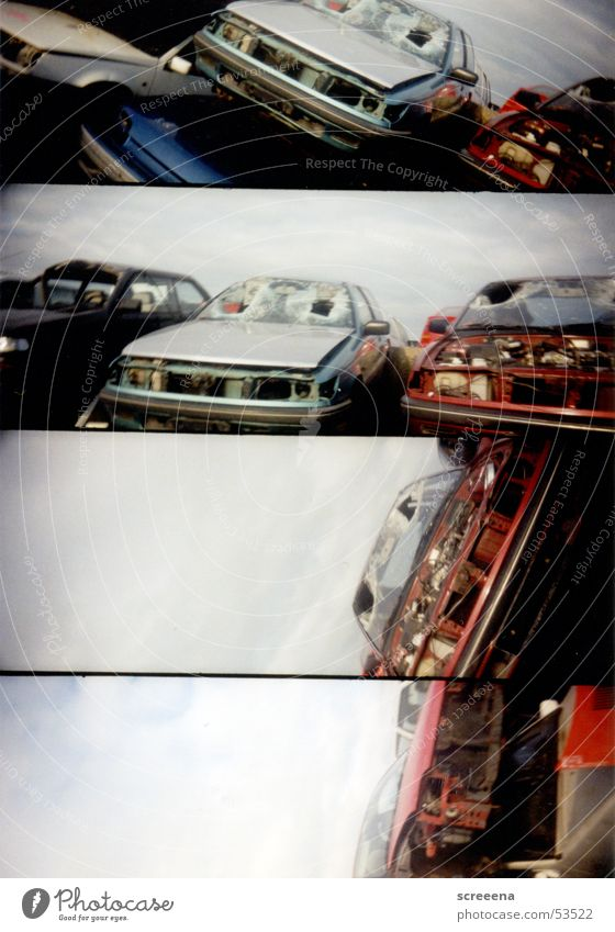 Trash Scapes II Himmel rot PKW kaputt silber Schrott Lomografie Schrottplatz Autowrack schrottreif
