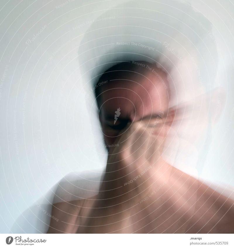 Montag Bildung lernen Mensch maskulin Junger Mann Jugendliche Erwachsene Kopf Hand 1 Denken Gefühle Traurigkeit Unlust Schmerz Konzentration Farbfoto