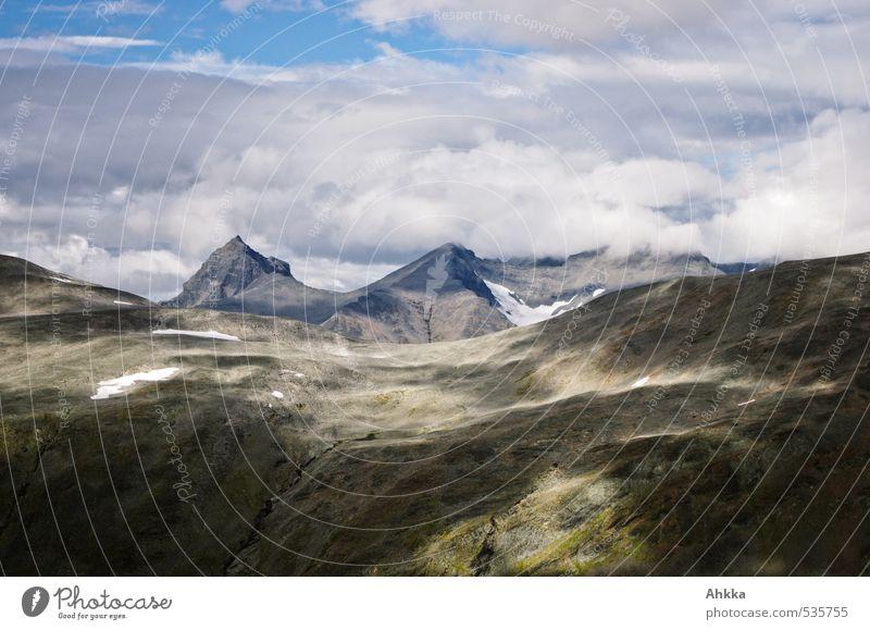 Fjellbemalung Natur Einsamkeit Landschaft Wolken Ferne kalt Berge u. Gebirge grau Zeit Stimmung glänzend Klima leuchten Wachstum wandern ästhetisch