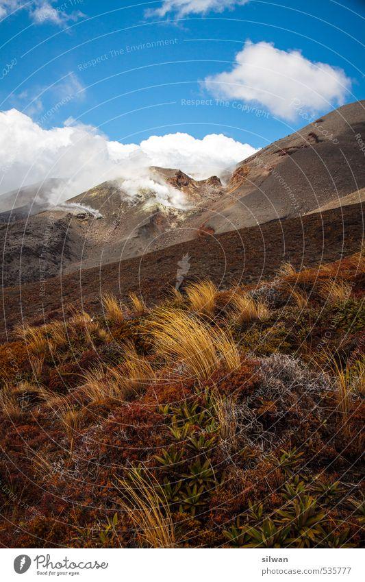 Tongariro bricht aus Himmel Natur blau weiß Landschaft Berge u. Gebirge Frühling Felsen braun Erde Wind Schönes Wetter Urelemente Abenteuer fantastisch Gipfel
