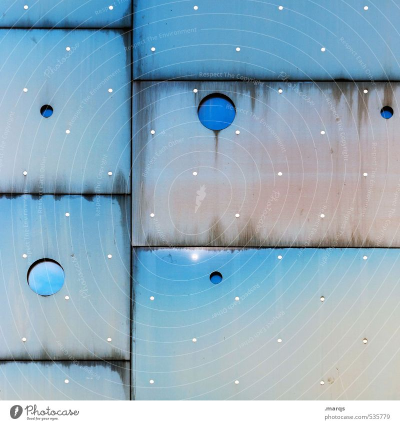 Sternstunde Lifestyle elegant Stil Design Fassade Fenster Metall außergewöhnlich Coolness eckig einzigartig rund blau weiß Farbe Ordnung Surrealismus